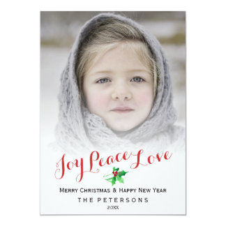 "Christmas Script Joy Peace   Holly Holiday Photo 5"" X 7"" Invitation Card"