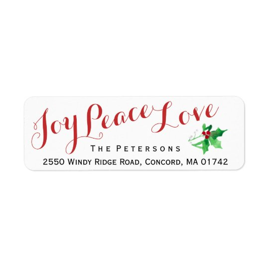 Christmas Script Joy Peace Love Holly Custom