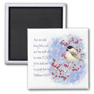 Christmas Scripture Chickadee Snowy Berry Square Magnet