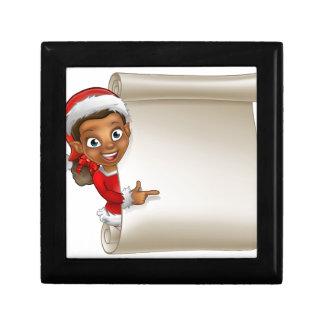 Christmas Scroll Elf Cartoon Jewelry Boxes