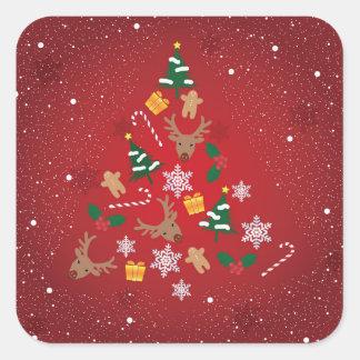 Christmas seal square sticker
