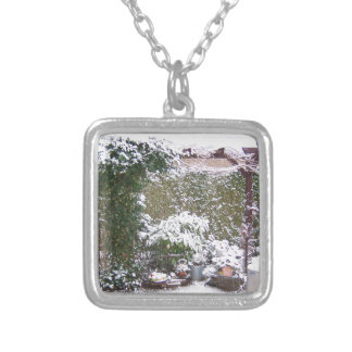 Christmas Season, Snow in the garden Silver Plated Necklace