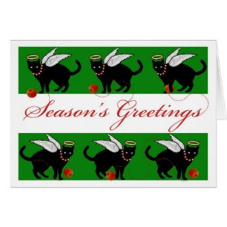 Christmas Season's Greetings Cat Angel Unwinding Card