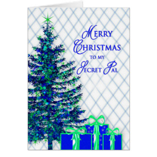 Christmas, Secret Pal, Blue/Tree, Gifts Card
