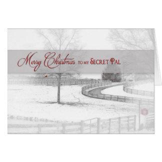 Christmas- Secret Pal - Horse Ranch-Winter/Snow Greeting Card