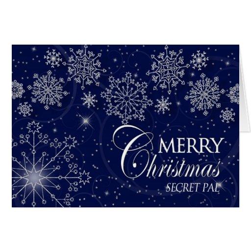 CHRISTMAS - SECRET PAL - SNOWFLAKES/NAVY GREETING CARD