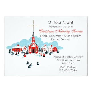 Christmas Service with A Winter Church Scene Card
