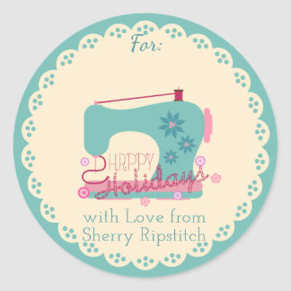 "Christmas sewing machine ""handmade with love"" round sticker"