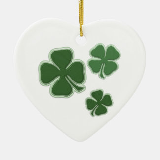 Christmas Shamrocks Ceramic Ornament
