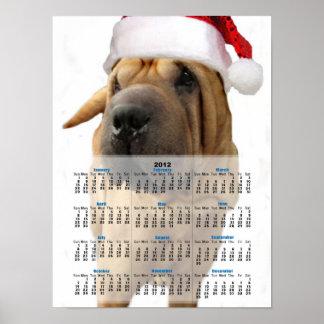 Christmas Shar Pei dog Print