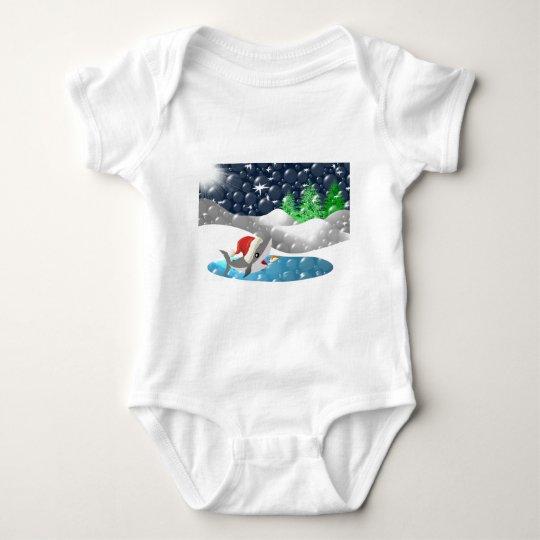 Christmas Shark Baby Bodysuit