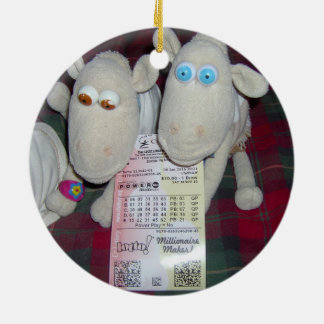CHRISTMAS SHEEP WITH LOTTERY TICKET ROUND CERAMIC ORNAMENT