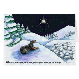 Christmas shepherd watches flocks by night card