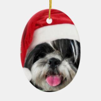 Christmas Shih Tzu Dog Ceramic Oval Ornament