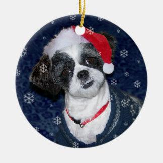 Christmas Shih Tzu Dog Round Ceramic Ornament
