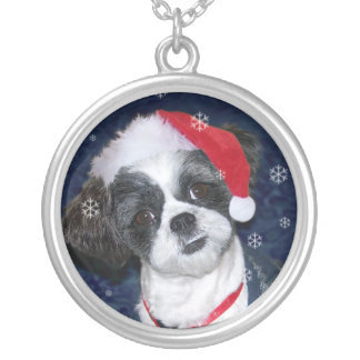 Christmas Shih Tzu Dog Silver Plated Necklace