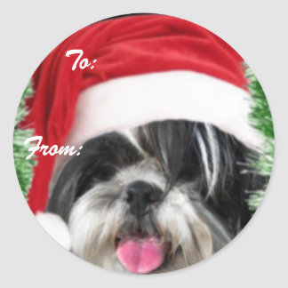 Christmas Shih Tzu Gift Tag Sticker