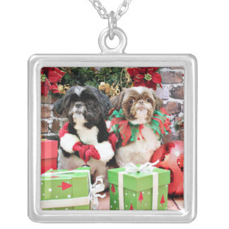 Christmas - Shih Tzu - Pixie and Willie Silver Plated Necklace