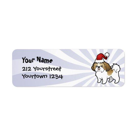Christmas Shih Tzu (puppy cut) Return Address Label