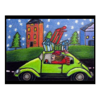 Christmas Shopping Car Gifts Postcard