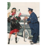 Christmas Shopping; Policeman Feeding the Metre Postcards