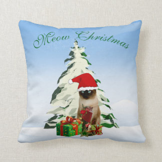 Christmas Siamese Cat 16 x 16 Decorative Pillow