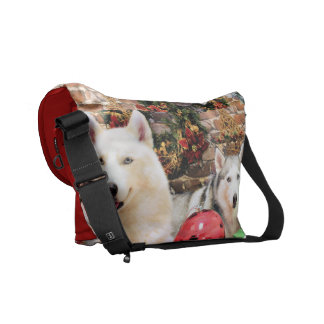 Christmas - Siberian Huskies - Bailey and Katya Courier Bags
