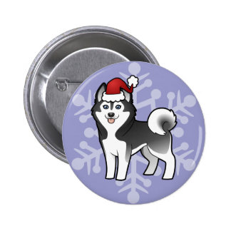 Christmas Siberian Husky / Alaskan Malamute 2 Inch Round Button