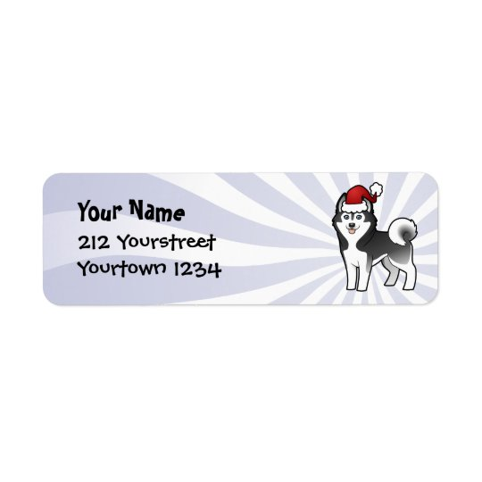 Christmas Siberian Husky / Alaskan Malamute Return Address Label