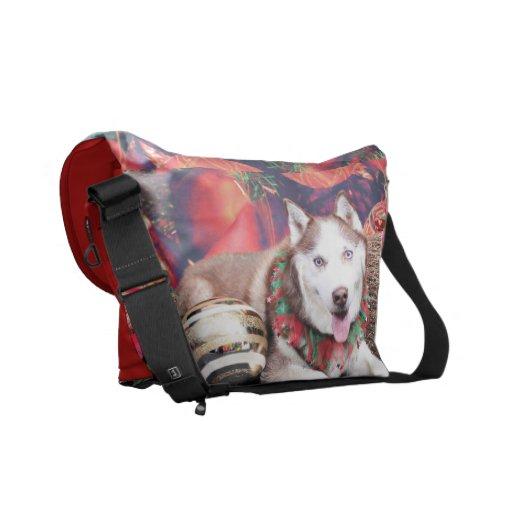 Christmas - Siberian Husky - Buddy Messenger Bags