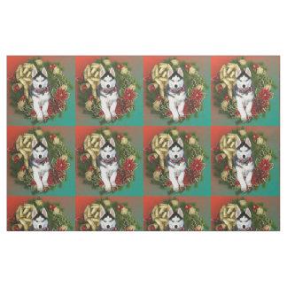 Christmas Siberian Husky dog breed fabric