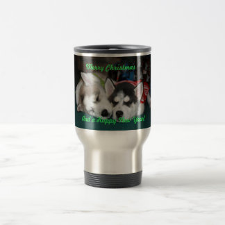 Christmas Siberian Husky Puppies Mug