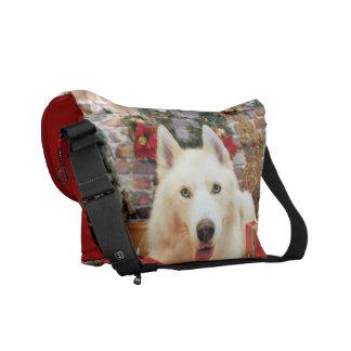Christmas - Siberian Husky - Teagarden Portraits Courier Bags