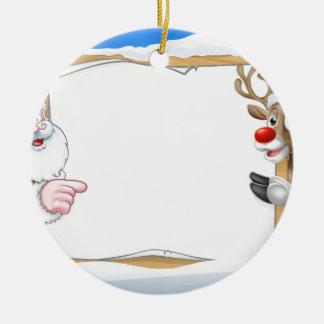 Christmas Sign Reindeer and Santa Background Ceramic Ornament