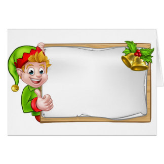 Christmas Sign Santa Helper Elf Thumbs Up Card