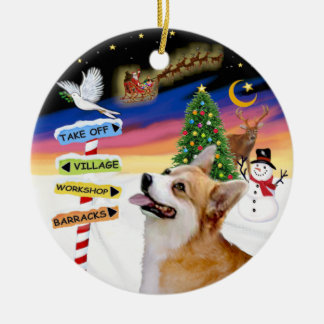 Christmas Signs - Welsh Corgi (Pembroke) Round Ceramic Ornament