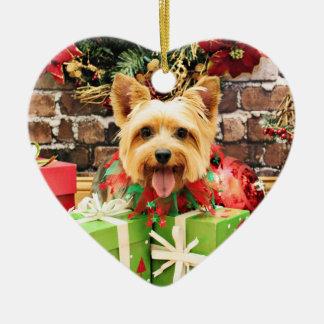 Christmas - Silky Terrier - Haley Ceramic Heart Ornament