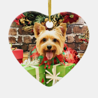 Christmas - Silky Terrier - Haley Ceramic Ornament