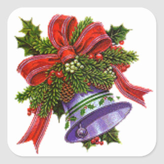Christmas Silver Bell Square Sticker