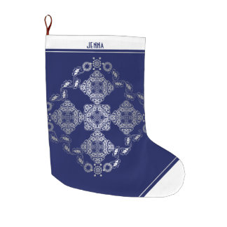 Christmas Silver Filigree with Name in Deep Blue Large Christmas Stocking