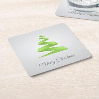 Christmas Simple Ribbon Christmas Tree Square Paper Coaster