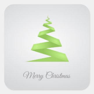 Christmas Simple Ribbon Christmas Tree Square Sticker