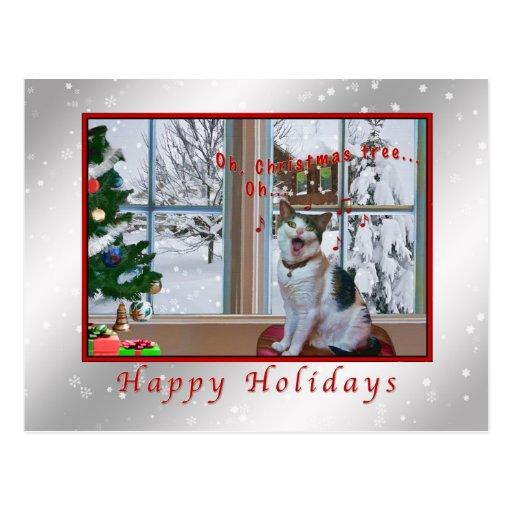 Christmas, Singing Cat, Snow, Card Postcards