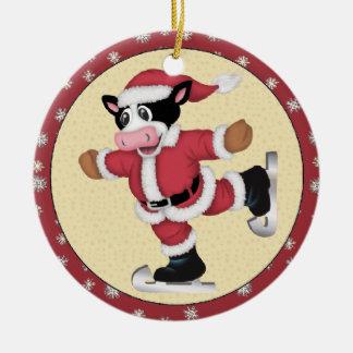 Christmas Skating Cow Ornament