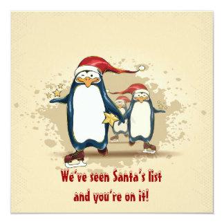 "Christmas Skating Penguins Christmas Party 5.25"" Square Invitation Card"