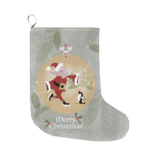 Christmas Skating Santa Stocking Large Christmas Stocking