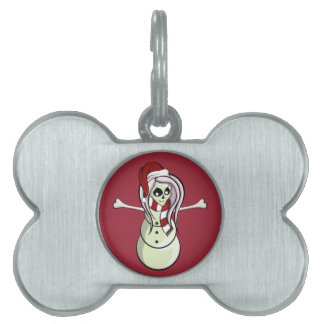 Christmas Skeleton Female Snowman Pet ID Tag