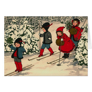"""Christmas Skiing"" Greeting Card"