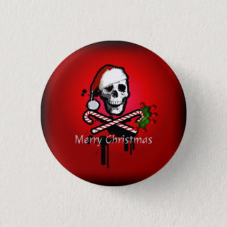 Christmas skull 1 inch round button