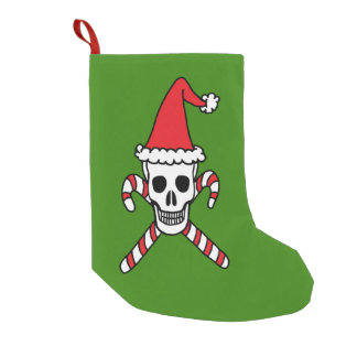 Christmas Skull and Candy Cane Crossbones Small Christmas Stocking